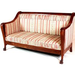 19th C. mahogany settee on carved lions feet