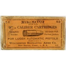 Winchester 9mm Luger ammo full correct box.