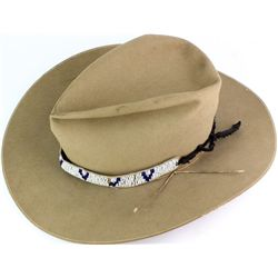 John B Stetson hat with beaded hat band