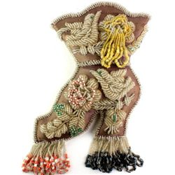 Heavily beaded Iroquois whimsy wall pocket