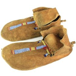 C. 1890-1910 Crow moccasins with beaded vamps