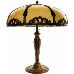 Beautiful 8 panel slag glass lamp with original