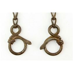 Set of metal rein chains with swivels and hand