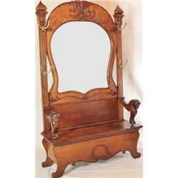 Impressive antique oak hall seat