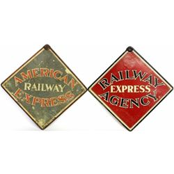Collection of 2 antique depot signs