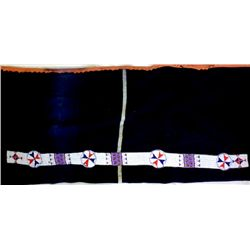 Early blue wool blanket with applied bead