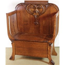 Quarter sawn oak hall seat with lift lid