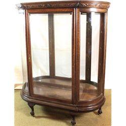 Large antique oak china cabinet with beveled