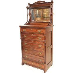 Unusual Victorian high boy dresser with mirrored