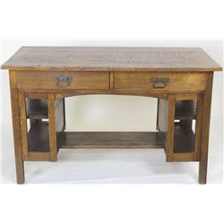 Mission oak writing desk with double book shelves