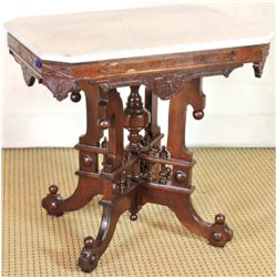 Victorian marble top parlor table on walnut
