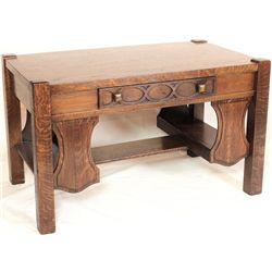 Fancy oak writing table with single drawer