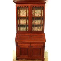 Antique bookcase secretary in walnut
