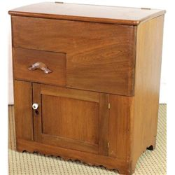 19th C. walnut dry sink with hinging tip,
