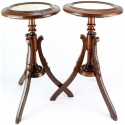 Matching set of 2 walnut plant stand tables