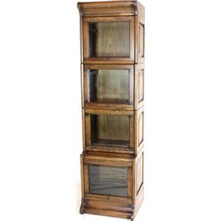 Stepped back 4 stack bookcase with beveled glass