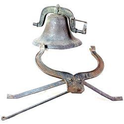 Antique No. 2 cast iron school bell with original