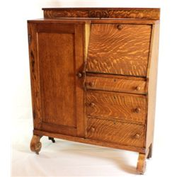 Oak secretary cabinet with drop down desk,