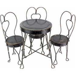 Old Childs ice cream parlor set with table and 3