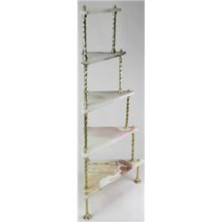 Onyx and brass corner stand with 5 individual