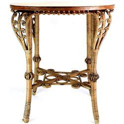 Terrific Victorian wicker table with quartersawn