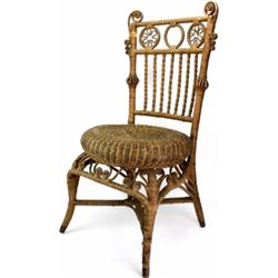 Victorian wicker chair in original uncleaned