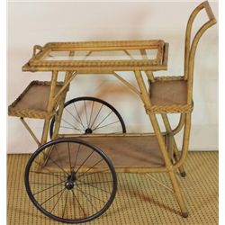 Great Victorian wicker tea cart with removable