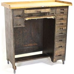 Multi drawer work cabinet with shipping tag