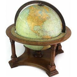 1930's Rand McNally globe on desk top mahogany
