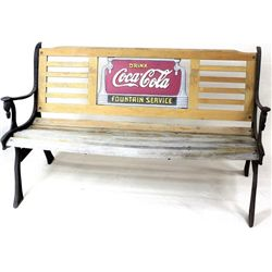 Coca Cola park bench with cast iron legs