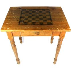 Early pine game table with pull out drawer