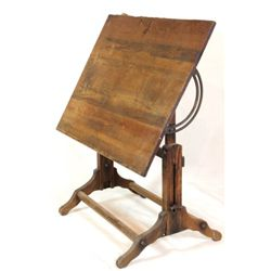 Early wood draftsman's table with fully