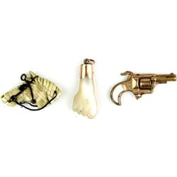 Collection of 3 watch fobs includes bone ivory