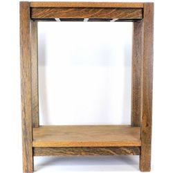 Mission oak stand with lower shelf, 29""