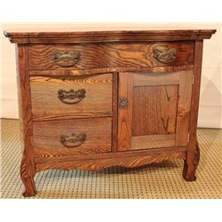 Nice antique oak commode, double serpentine