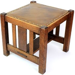 Mission Arts and Crafts oak footstool