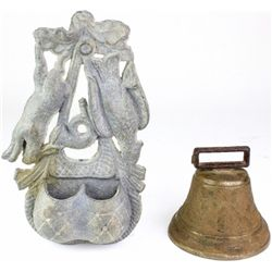 Collection of 2 includes brass cowbell dated