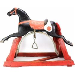 Great 19th C. childs rocking horse, solid wood