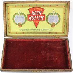 Oak Keen Kutter box with excellent interior label