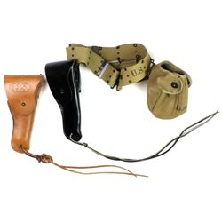 Military holster, belt, canteen holder and ammo