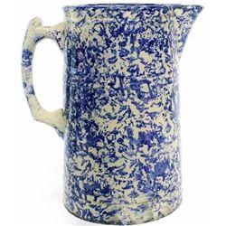 "Antique blue spongeware pitcher 9"" tall."