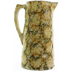 "Antique spongeware tankard pitcher 9"" tall."