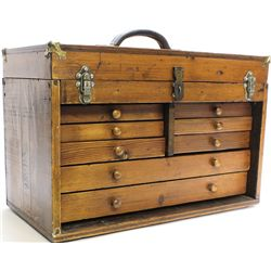 Old wood machinist chest with lift lid