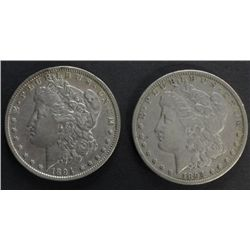 Collection of 2 Morgan Silver Dollars includes