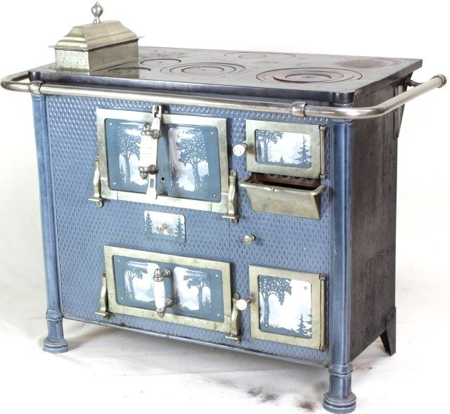 An attractive stove featuring white porcelain