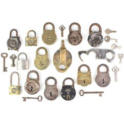 Collection of 14 antique padlocks includes