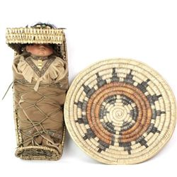 Collection of 2 includes Navajo basketry tray