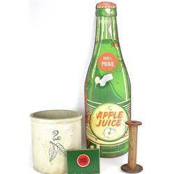 "Replica apple juice sign 33"" tall."