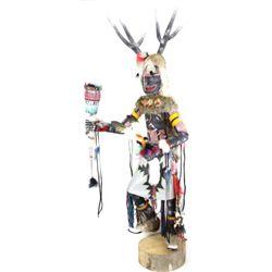 """Large 60"""" Kachina deer dancer carved from"""