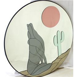 Large round wall mirror with overlay